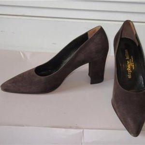 NEW WOMENS STEPHANE KELIAN BROWN SUEDE PUMPS  7.5